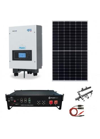 Kit Fotovoltaico 5 kWp con Batteria d'Accumulo Pylontech e Inverter Ibrido Azzurro ZCS HYD 5000-ES