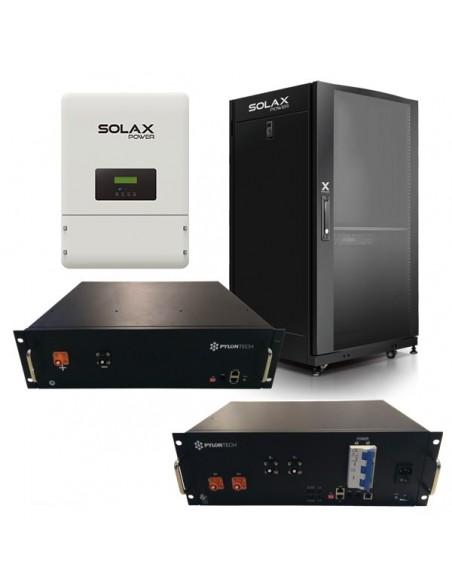 Kit d'Accumulo Fotovoltaico Trifase con Inverter 10 kW Ibrido Solax e Batterie al Litio Ferro Fosfato Pylontech da 12 a 16,8 kWh