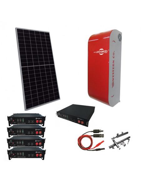 Kit Fotovoltaico 5 kW a Isola Off-Grid Stand Alone con Batteria d'Accumulo Pylontehc e Inverter Leonardo